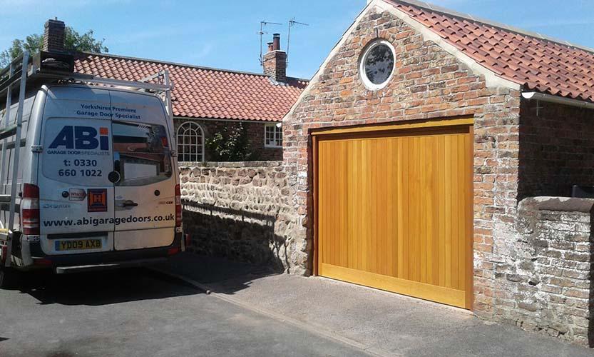 Cedar Up and Over Garage Door