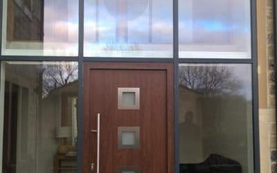 Hormann Steel Entrance Door Thermo65 Style 800 in Dark Oak Decograin