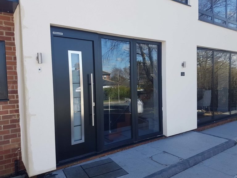 Hormann Thermo65 steel front door, style 700, finsihed in Black RAL 9005.