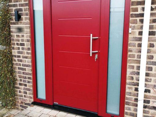 Hormann Thermo65 Steel Front Door in Red Wine
