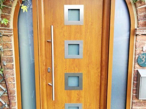Hormann Thermo65 Steel Front Door, Decograin Golden Oak