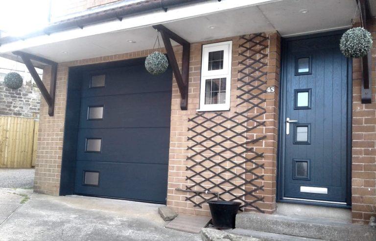 Truedor Composite Front Door Style 1B, Matching Garage Door