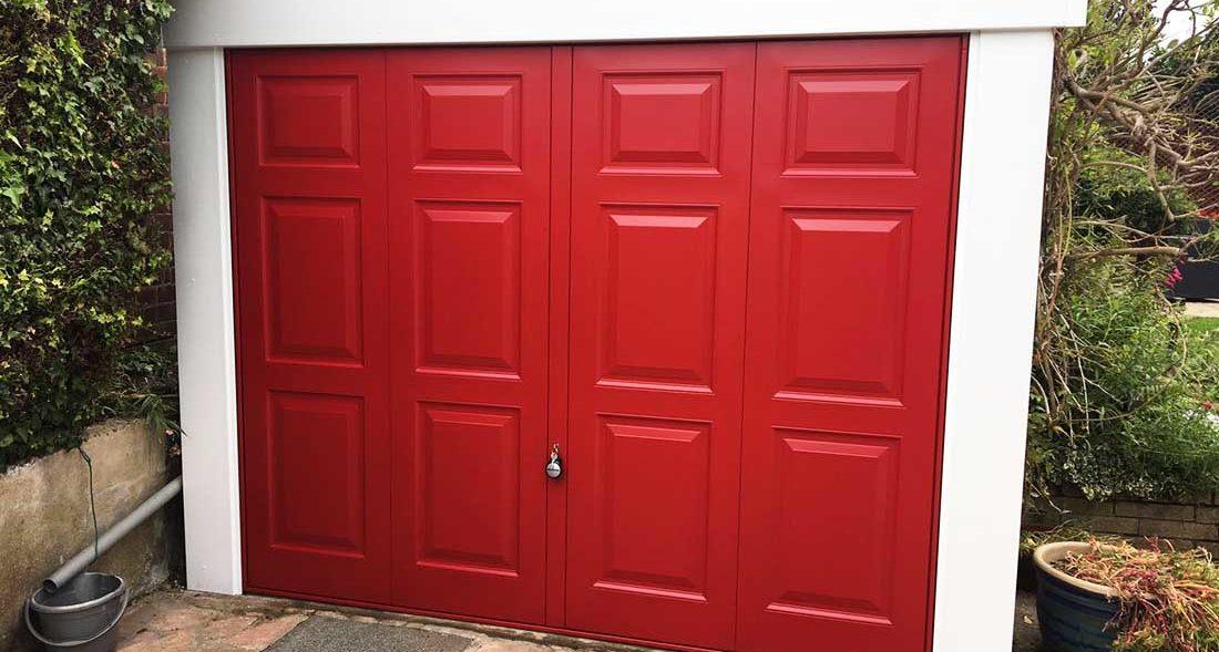 Up and Over Garage Door Georgian Design in Red